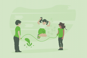 three kids playing with a jump rope