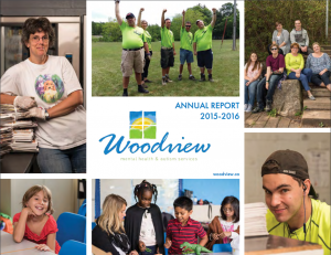 annual report cover, pictures of staff and students