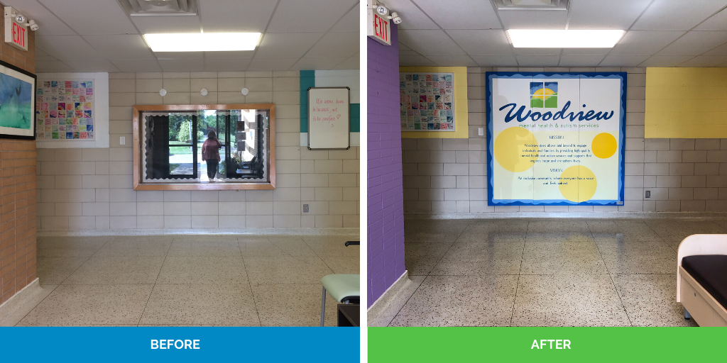 before and after main entrance renovation