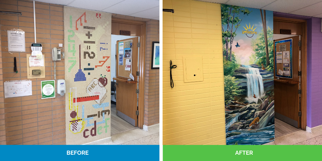 before and after of front office wall renovation