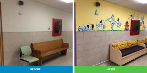 before and after of hallway mural