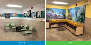 before and after of boardroom waiting area renovation
