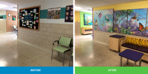 before and after of wall mural paintings