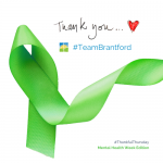 thank you graphic with green ribbon