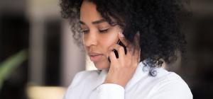 woman listening on phone