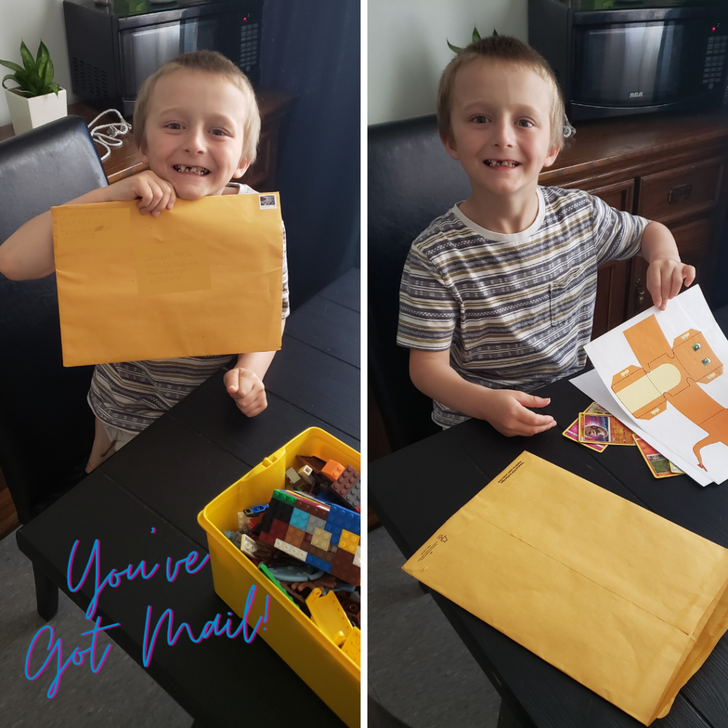 young boy excited to receive personal mail