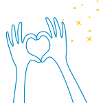 illustrated hands making a heart